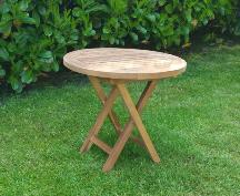 Beistell-Gartentisch rund aus Teak in natur, weiß und allen Farben lackiert
